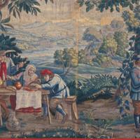 胴懸「農民の食事」ゴブラン織、17世紀フランス製